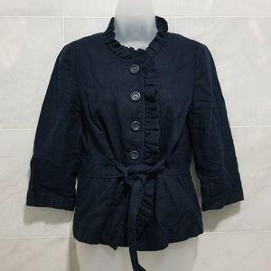 Loft Ruffle Tie Navy Blazer Button Down Pe…